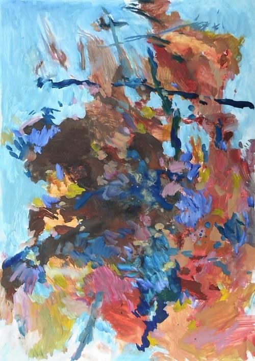 Malerei in Rot und Blau