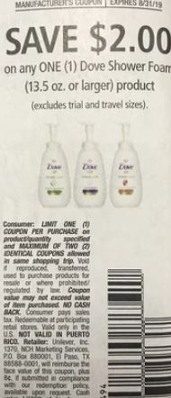 "$2/1 Dove Shower Foam product Coupon from ""RMN"" insert week of 8/18 (EXP:8/31)"