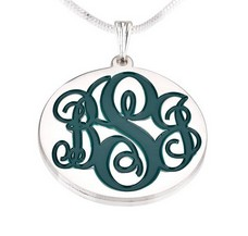 Sterling silver interlocking color monogram necklace