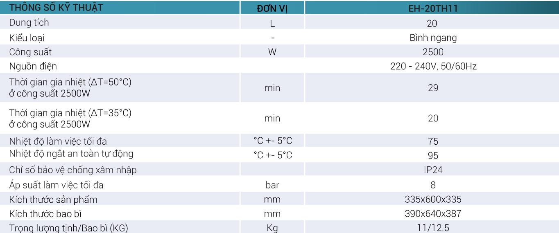 Thống số kỹ thuật Bình nóng lạnh Casper trực tiếp EH-20TH11