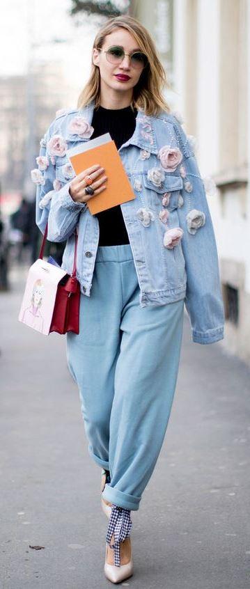 fashionable denim outfit / floral jacker + bag + jeans + heels + top