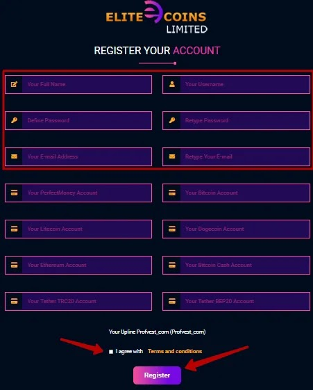 Регистрация в Elite Coins Limited 2