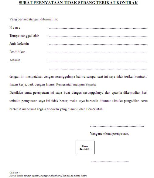 Contoh Surat Pernyataan Tidak Sedang Terikat Kontrak