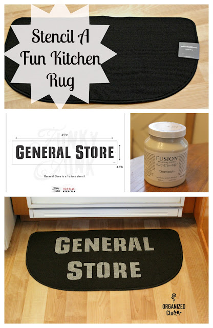 "An Easy ""General Store"" Stenciled Kitchen Rug #oldsignstencils #signs #generalstore #stenciling #fusionmineralpaint #farmhousedecor"