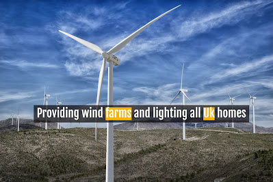 Providing wind farms and lighting all Uk homes