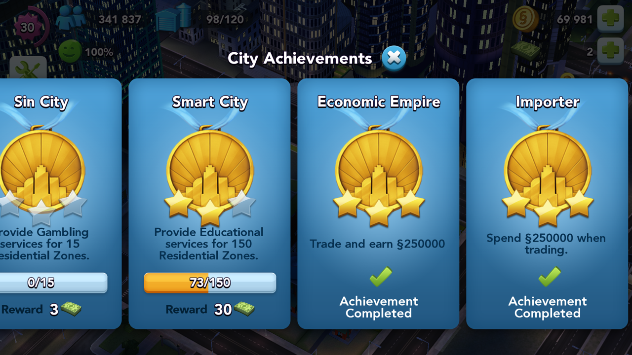 Win SimCash via City Achievements in SimCity BuildIt