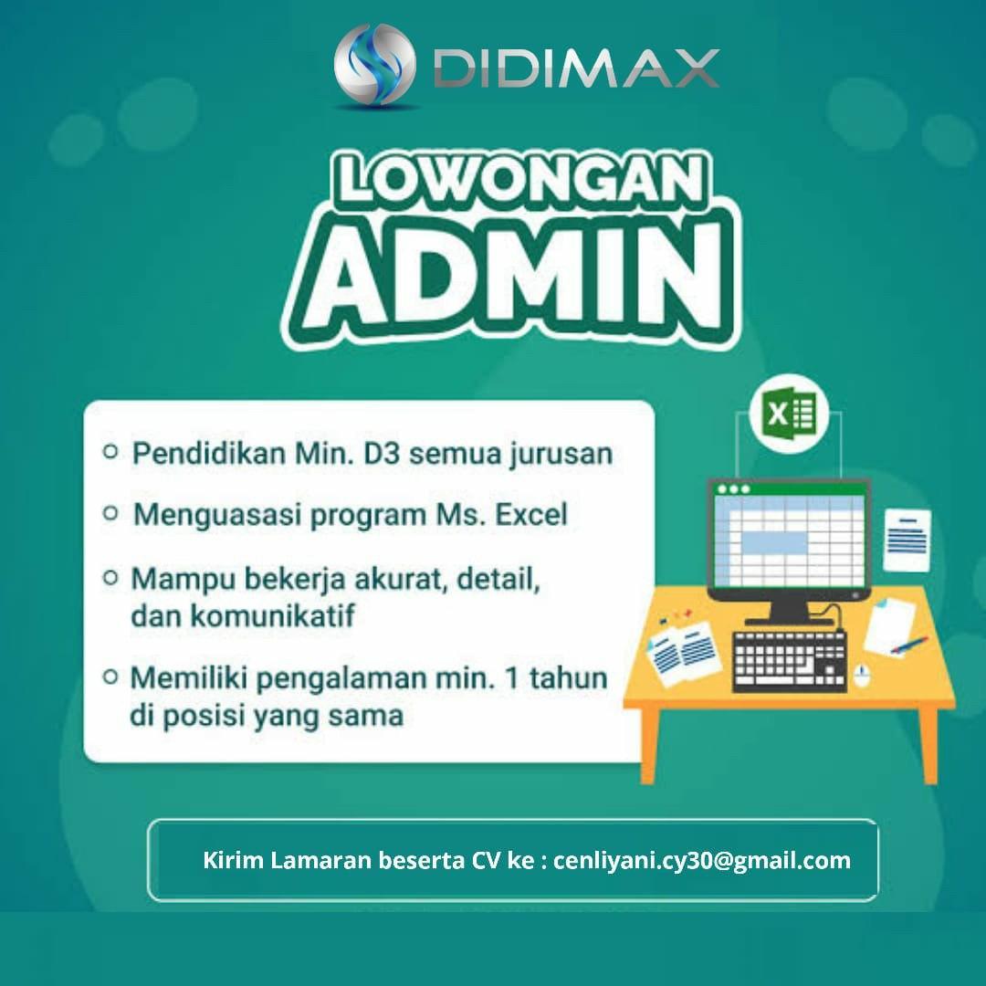 Lowongan Kerja Admin PT. Didimax Bandung Juni 2020