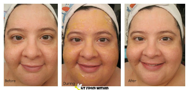 before, during, and after using the Valentia Ultra Plumping Hydration Mask