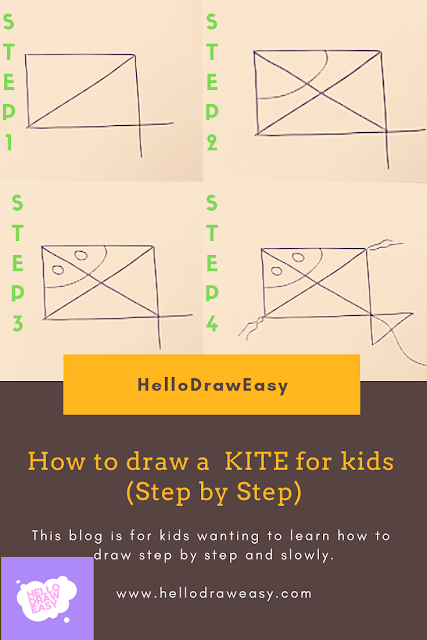 How to draw a KITE for kids (Step by Step)