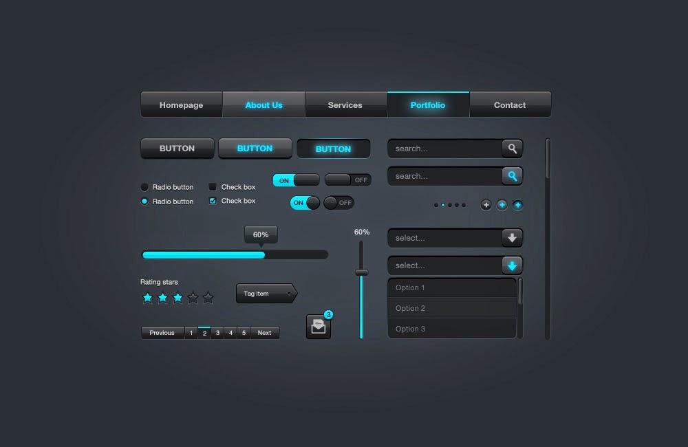 Sleek Web UI Elements Free PSD Download