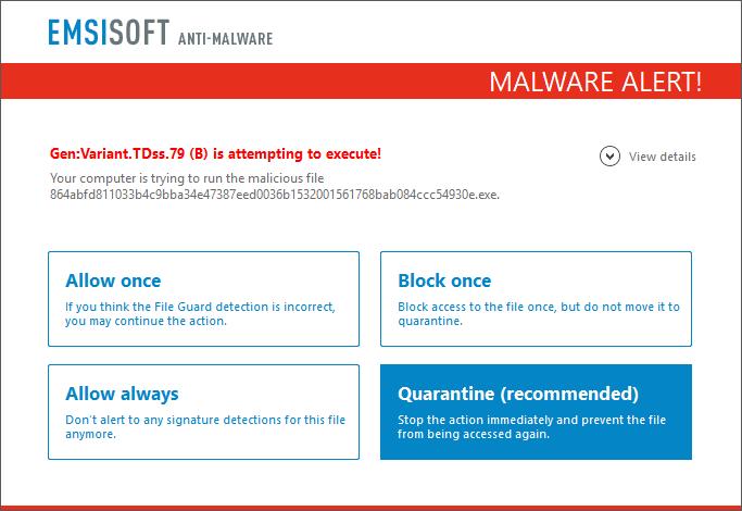 Emsisoft Anti-Malware Malware Alert Screenshot