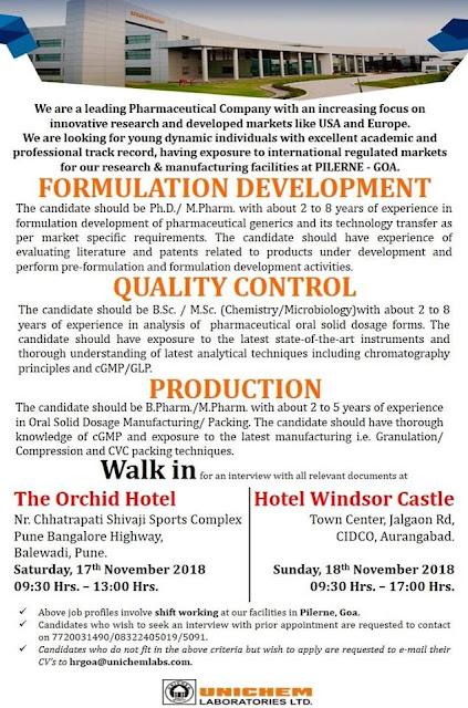 UNICHEM LABORATORIES Walk In Interview For Quality Control, Production, Formulation Development at 17 & 18 November