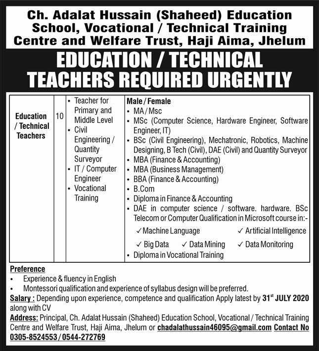 TEVTA Jobs in Jhelum July 2020