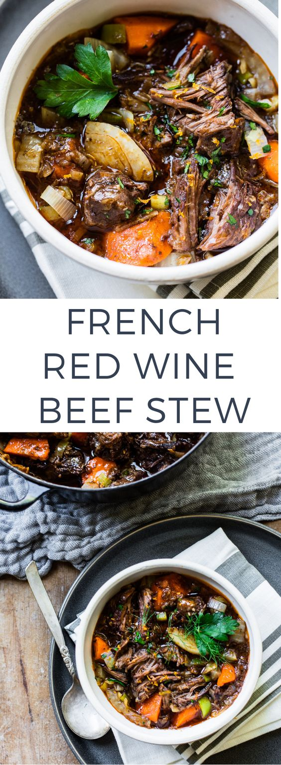 Slow-Cooked Red Wine Beef Stew - A rich French-style beef stew with red wine and vegetables. You'll love the intense flavor and it's so easy to make in a Dutch oven - low and slow!Serve this stew with wide egg noodles or simply with crusty bread and a salad.