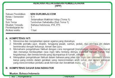 RPP Kelas 6 Tema 1 Kurikulum 2013 Revisi 2018