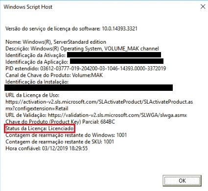 Ativação do Windows Server 2016 via prompt de comando