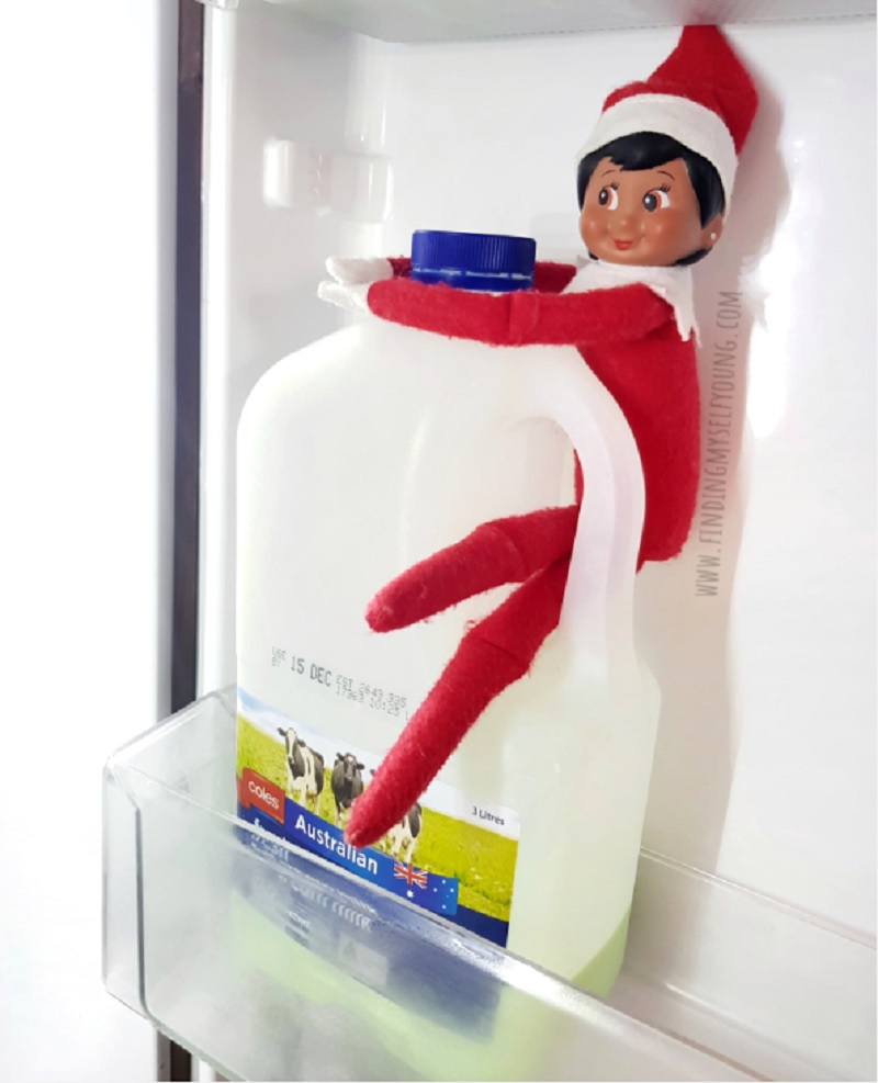 elf hiding in fridge changed the milk to green