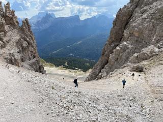 The trail from Rifugio Giussani down to Rifugio Dibona - a wide track.