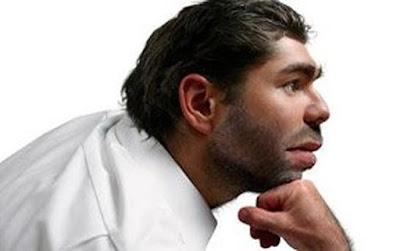 Neanderthal male in modern attire