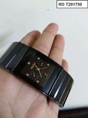 Đồng hồ nam mặt chữ nhật dây đá ceramic đen RD T291750