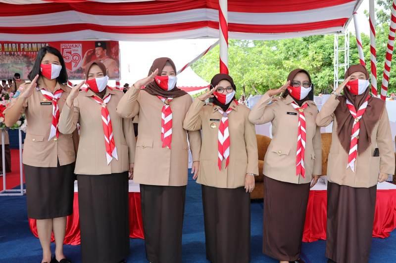 Marlin Ajak Pramuka Putri Sosialiasikan Penggunaan Masker