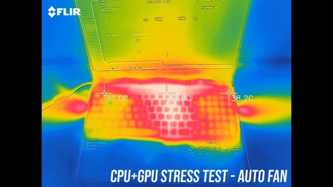 AN515's exterior temperature during CPU and GPU stress test at auto fan.