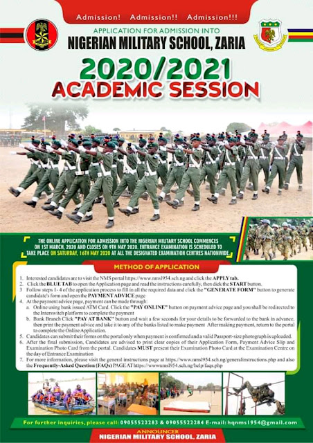 NMS Zaria Admission Form into JS 1 2020/2021 | How to Apply