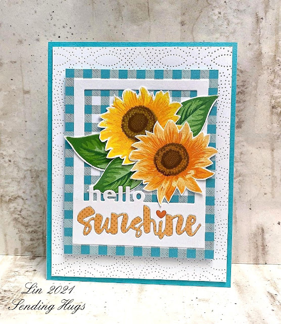 Sunny Studio Stamps: Sunflower Fields Customer Card by Lin Brandyberry
