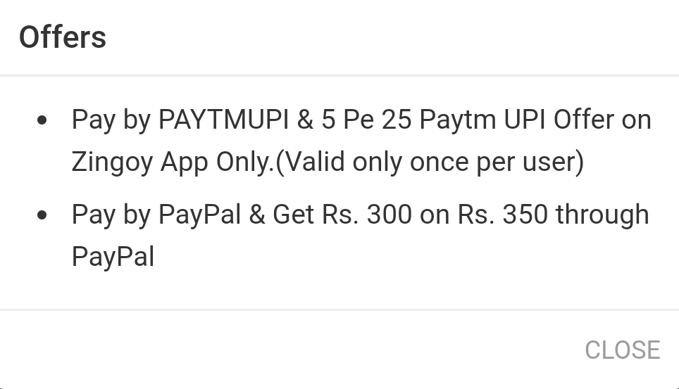 Zingoy Paytm Offer