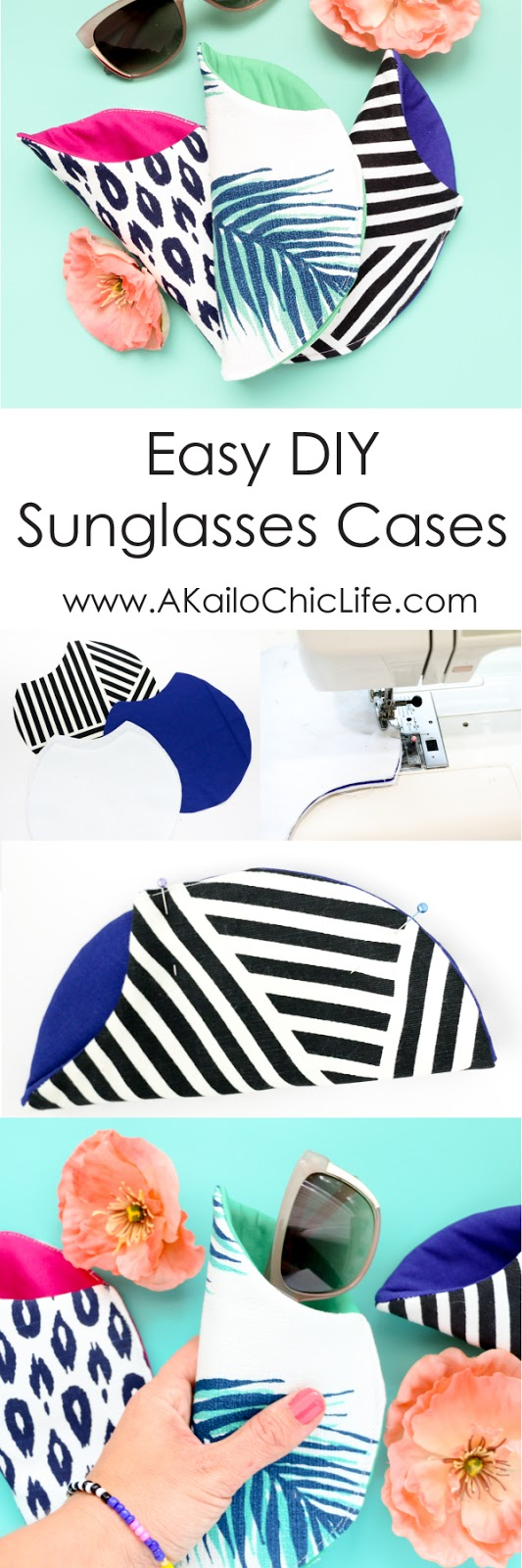 Learn how to make these simple sunglasses cases for Mother's Day or any time really. Great begining sewing project.