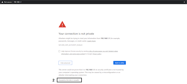 "PLDT 192.168.1.1 -""Your connection is not private"" error solution step 2, click Proceed to 192.168.1.1 (unsafe)"