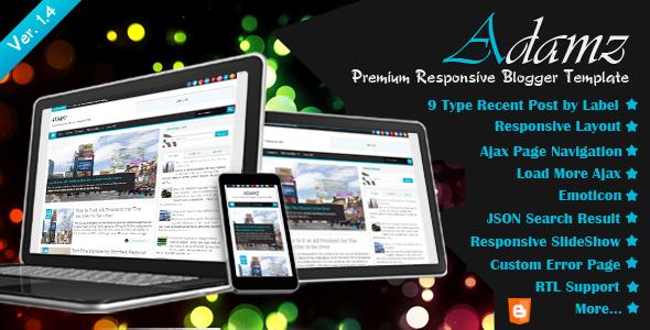 Adamz Premium Free Responsive Blogger Template preview
