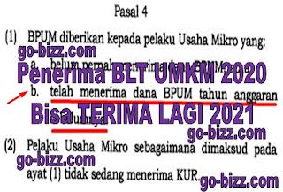 Apakah penerima BLT UMKM tahun 2020 bisa terima lagi tahun 2021?