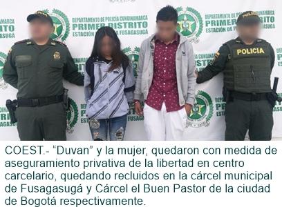 CAPTURADO ALIAS DUVAN JUNTO CON SU COMPAÑERA SENTIMENTAL.