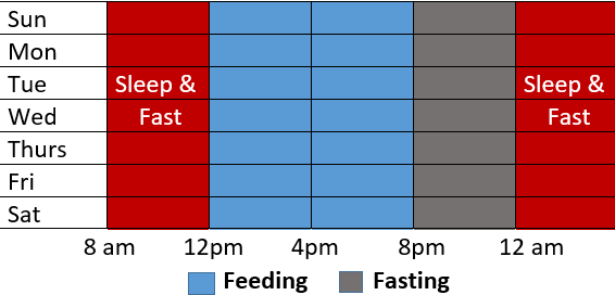 Table showing the eating and fasting window of 16/8 method of intermittent fasting
