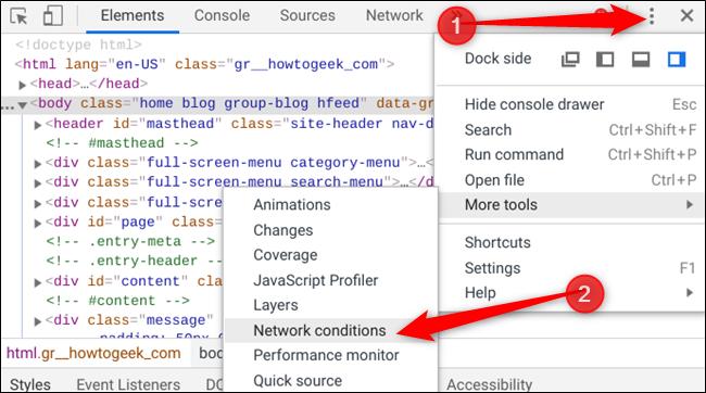 """انقر فوق رمز القائمة ، وحدد """"أدوات إضافية"""" ، ثم انقر فوق """"شروط الشبكة""""."""