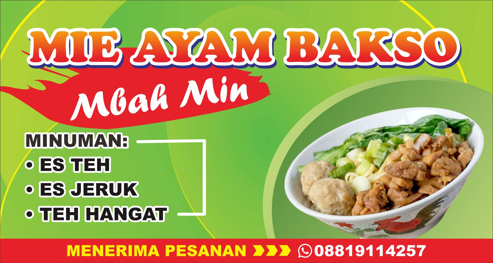 Template Desain Banner Warung Mie Ayam Bakso CDR - Mas Vian