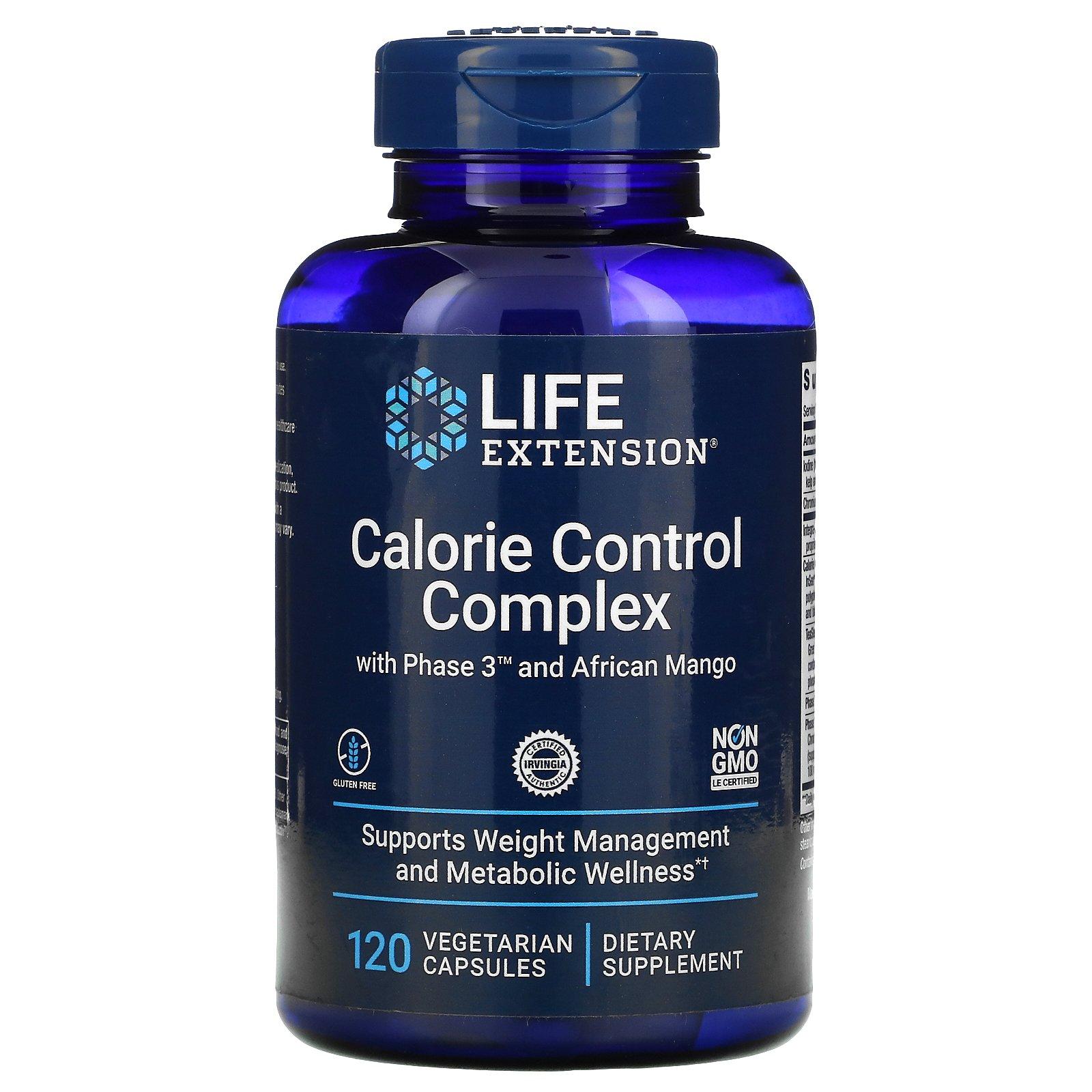 Life Extension, комплекс для контроля калорий с Phase 3 и африканским манго, 120 вегетарианских капсул