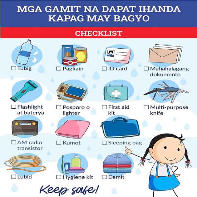 mga gamit na dapat ihanda kapag may bagyo