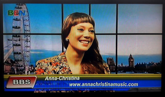 Composer Anna-Christina live TV interview on the BEN Breakfast Show on Ben TV Sky Channel 182