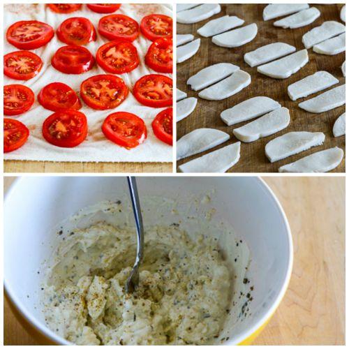 Crustless Tomato-Basil Breakfast Tart with Mozzarella and Goat Cheese found on KalynsKitchen.com.
