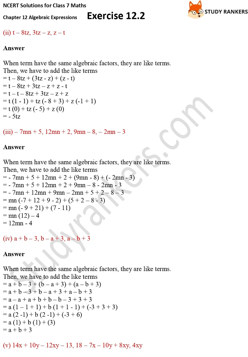 NCERT Solutions for Class 7 Maths Ch 12 Algebraic Expressions Exercise 12.2 3