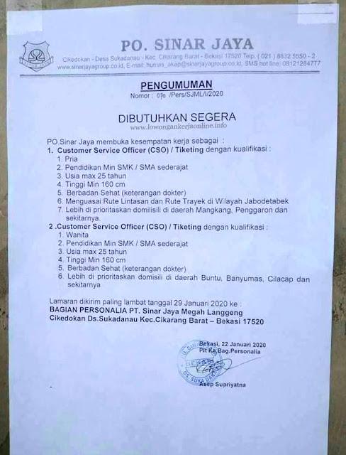 Lowongan PO Sinar Jaya Terbaru