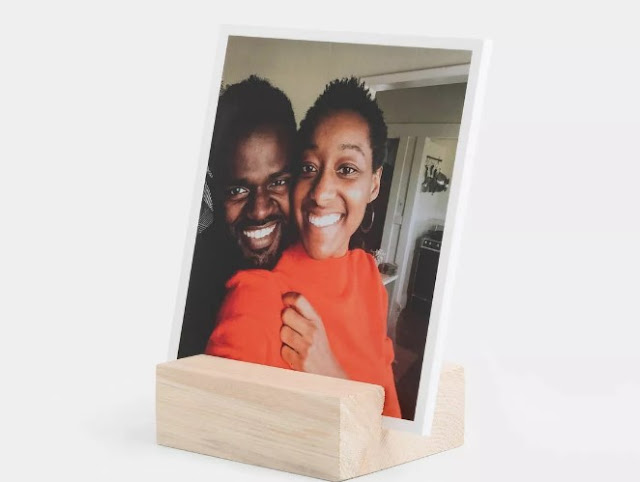 wood picture block gift for newlyweds