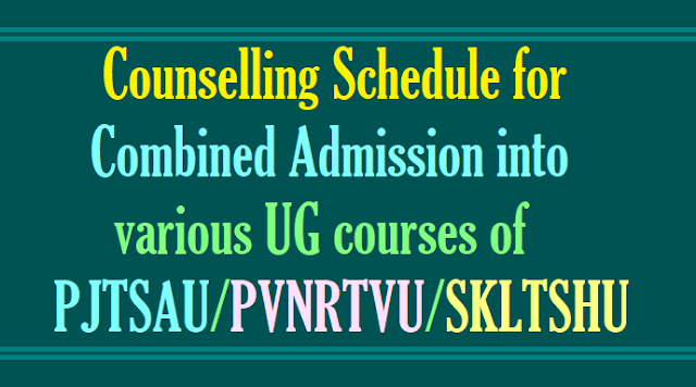 PJTSAU UG admissions Combined Counselling dates 2017 for Bi.P.C. Stream courses