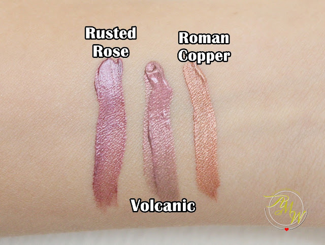 a swatch photo of Sleek MakeUP Metallic Matte Lip Creams Review in Rusted Rose, Volcanic and Roman Copper