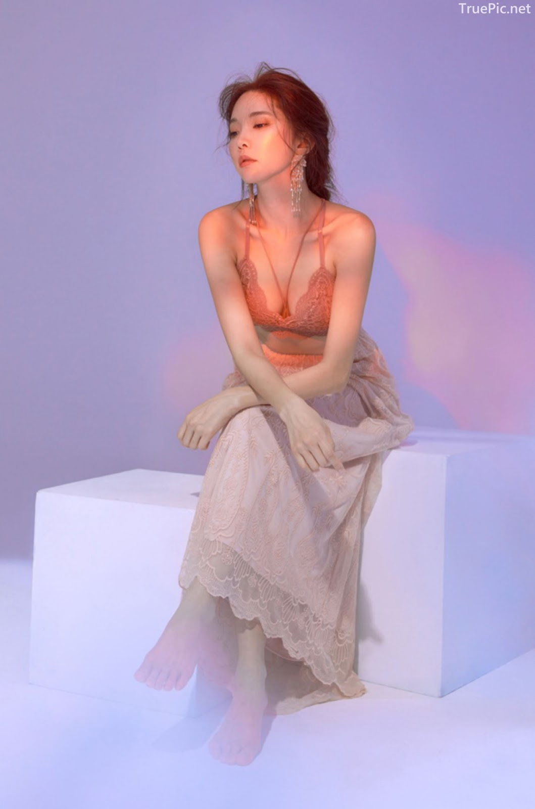 Korean model and fashion - Park Soo Yeon - Off-White Lavender and Salmon Pink Bra - Picture 6