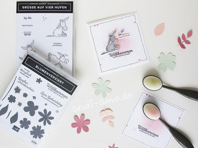 Stampin Up Karte Blending Pinsel Grüsse auf vier Hufen