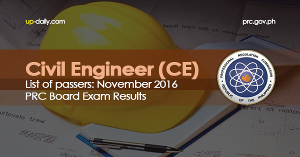 Civil Engineer Board Exam Results, November 2016 List of Passers