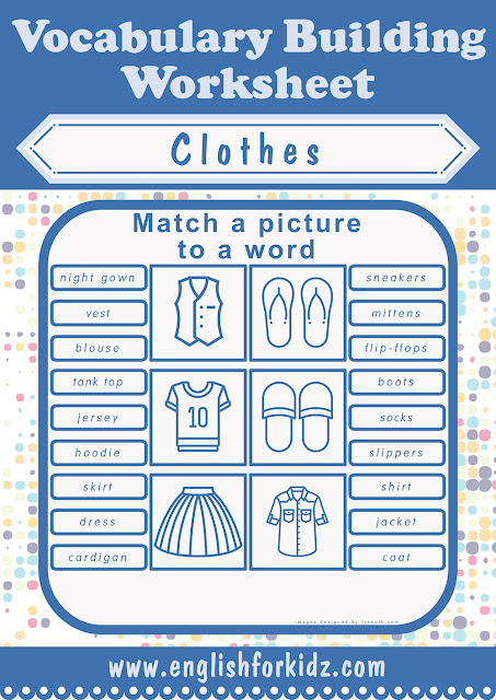 Clothes and accessories vocabulary worksheets for ESL students